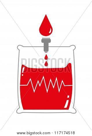 Blood Bag with Life Signal. Editable Clip Art.