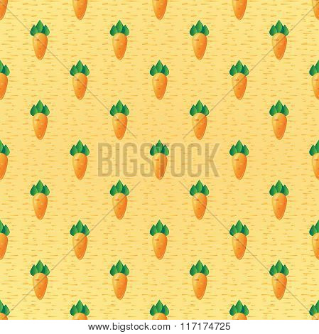 Bright seamless vector background logo icon root crop carrots, in flat cartoon style