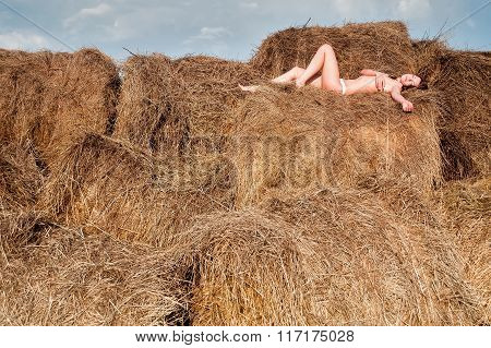 sexy young nude woman on hay