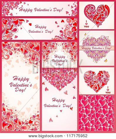 Collection of greeting templates for Valentines day