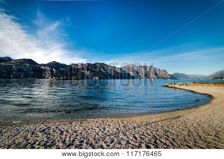 Panorama Of Lake Garda (italy) Near The Town Of Malcesine.