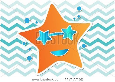 Orange starfish with blue sunglasses