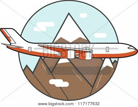 Vector design illustration of passenger airplane flying across mountains in flat style. Commercial a