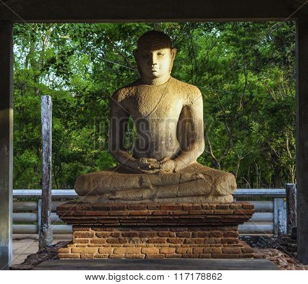 Sitting Holy Buddha In Mihintale
