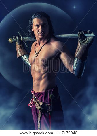 Half Naked  Warrior With A Sword In The Mystic Background
