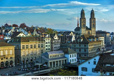 View of city of Zurich and Limmat River, Switzerland