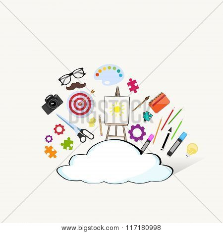 Cloud Doodle Hand Draw Sketch Concept Technology Internet Data Information Storage