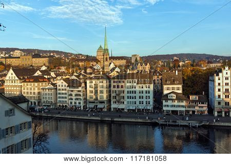 City of Zurich and Limmat River, Switzerland
