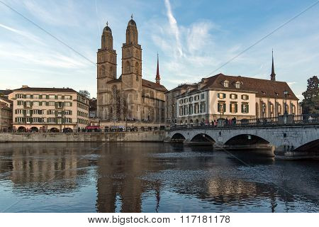 Reflection of Grossmunster church in Limmat River, Zurich, Switzerland
