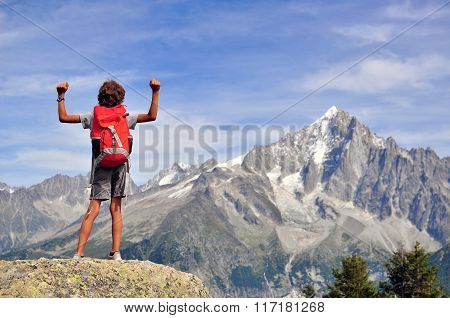 Boy Looking At Mountains, France