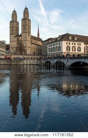 Panoramic view around Grossmunster church, City of Zurich, Switzerland