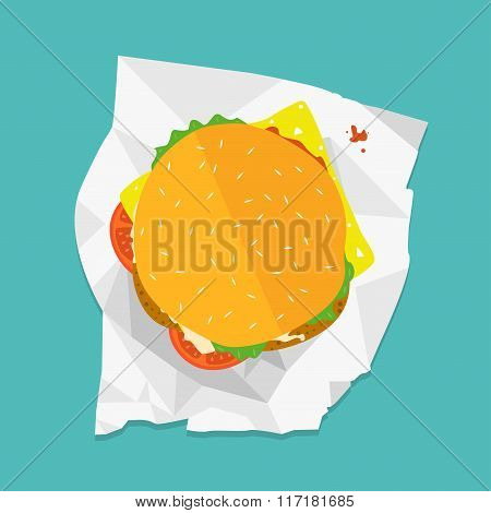 Vector sandwich illustration. Food icon. Hamburger with lettuce, cheese and tomatoes. On polygonal n