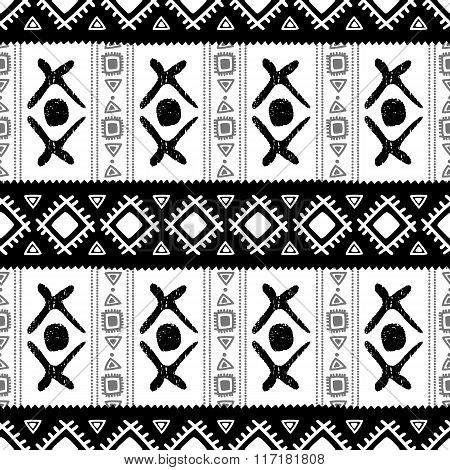 Black And White Ethnic Seamless Pattern. Vector Illustration.