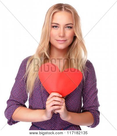 Portrait beautiful blond woman with red heart shaped greeting card isolated on white background, happy Valentine day