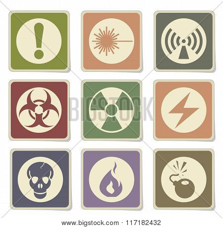 Hazard icons set