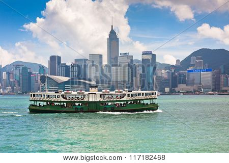 Famous Ferry On Victoria Harbor In Hong Kong