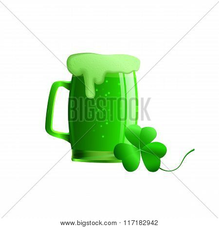 Set Of Vector Illustration Of A Glass Of Beer And A Clover Leaf. Objects A Glass Of Green Beer, Sham