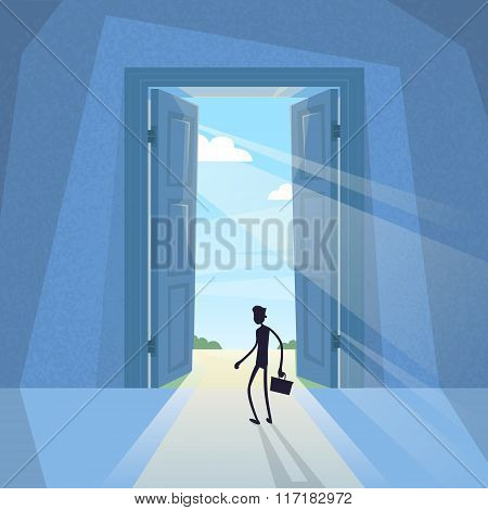 Business Man Black Silhouette Standing at Door Entrance Businessman