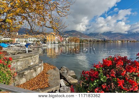 Panorama with flowers of Vevey, canton of Vaud, Switzerland