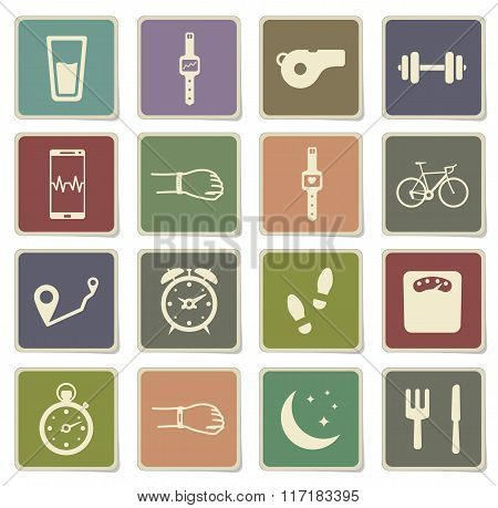 Jogging and workout simply icons
