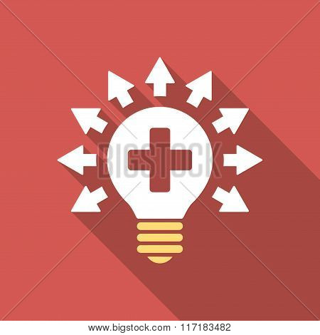 Disinfection Lamp Flat Square Icon with Long Shadow