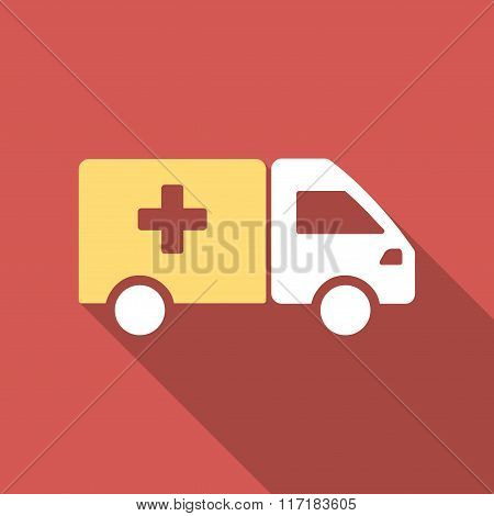 Drug Shipment Flat Square Icon with Long Shadow