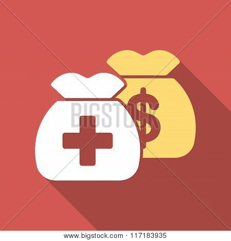 Health Care Funds Flat Square Icon with Long Shadow