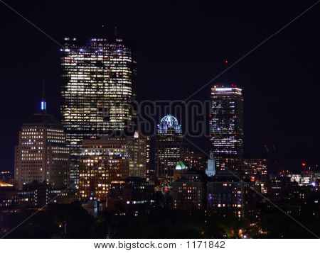 Back Bay Skyline At Night