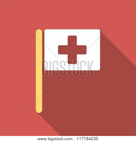 Hospital Flag Flat Square Icon with Long Shadow