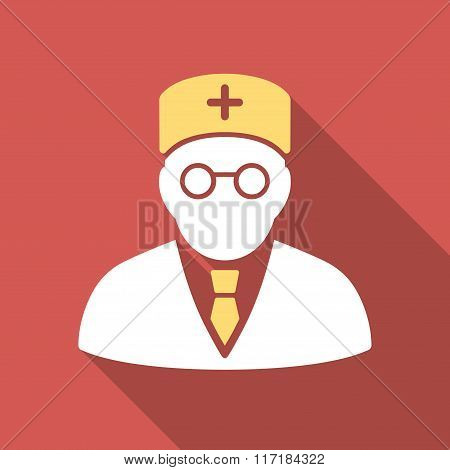 Main Physician Flat Square Icon with Long Shadow