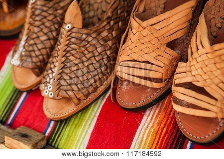Handmade shoes made of leather in Mexican market