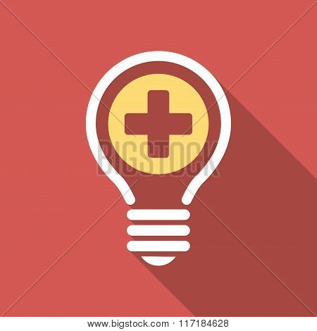 Medical Bulb Flat Square Icon with Long Shadow