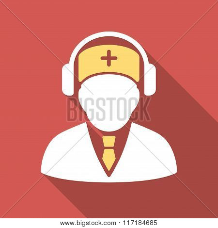 Medical Call Center Flat Square Icon with Long Shadow