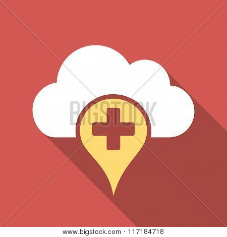 Medical Cloud Flat Square Icon with Long Shadow