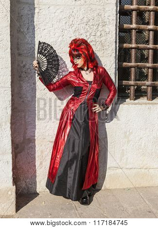 Disguised Woman With A Fan - Venice Carnival 2012