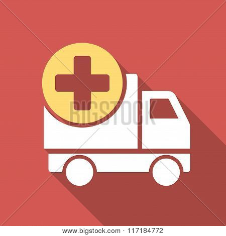 Medical Delivery Flat Square Icon with Long Shadow