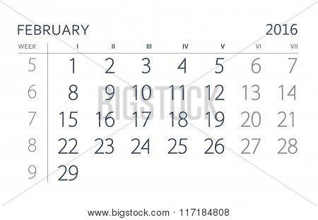 2016 Year Calendar. February