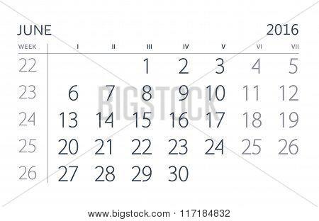 2016 Year Calendar. June