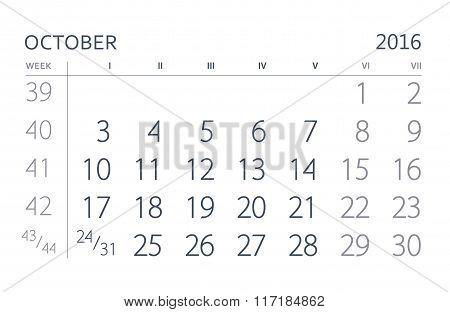 October. Calendar sheet. Calendar of the year two thousand sixteen.