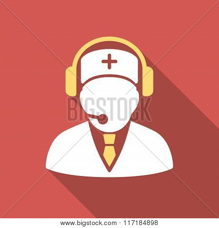 Medical Emergency Operator Flat Square Icon with Long Shadow