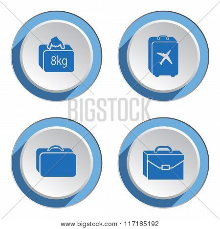 Airport baggage  icon set.  Hand luggage for traveling. Info symbol. Blue icons on white-blue 3d but