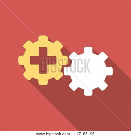 Medical Process Flat Square Icon with Long Shadow