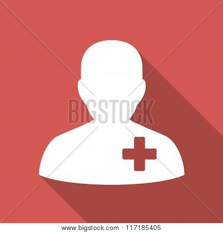 Medical Volunteer Flat Square Icon with Long Shadow