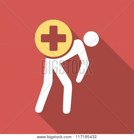 Medication Courier Flat Square Icon with Long Shadow