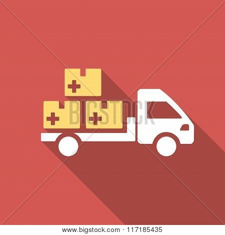 Medication Delivery Flat Square Icon with Long Shadow