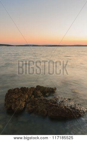Rocky Coast Before Sunrise In The  Summer Morning In Croatia