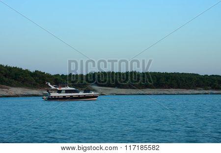 Motor  Boat Moored In Bay Of Kamenjak In Croatia