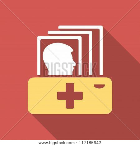 Patient Catalog Flat Square Icon with Long Shadow