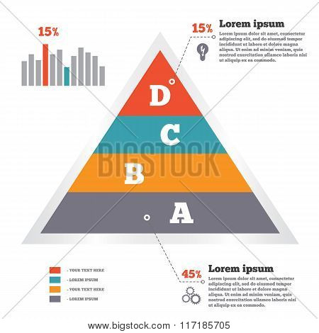 Infographics elements. Pyramid chart. Modern flat banner with four options. Vector illustration