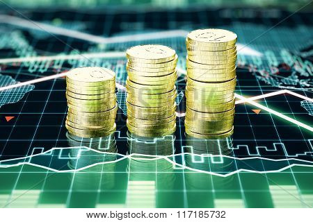 Stack Of Gold Coins On Business Chart